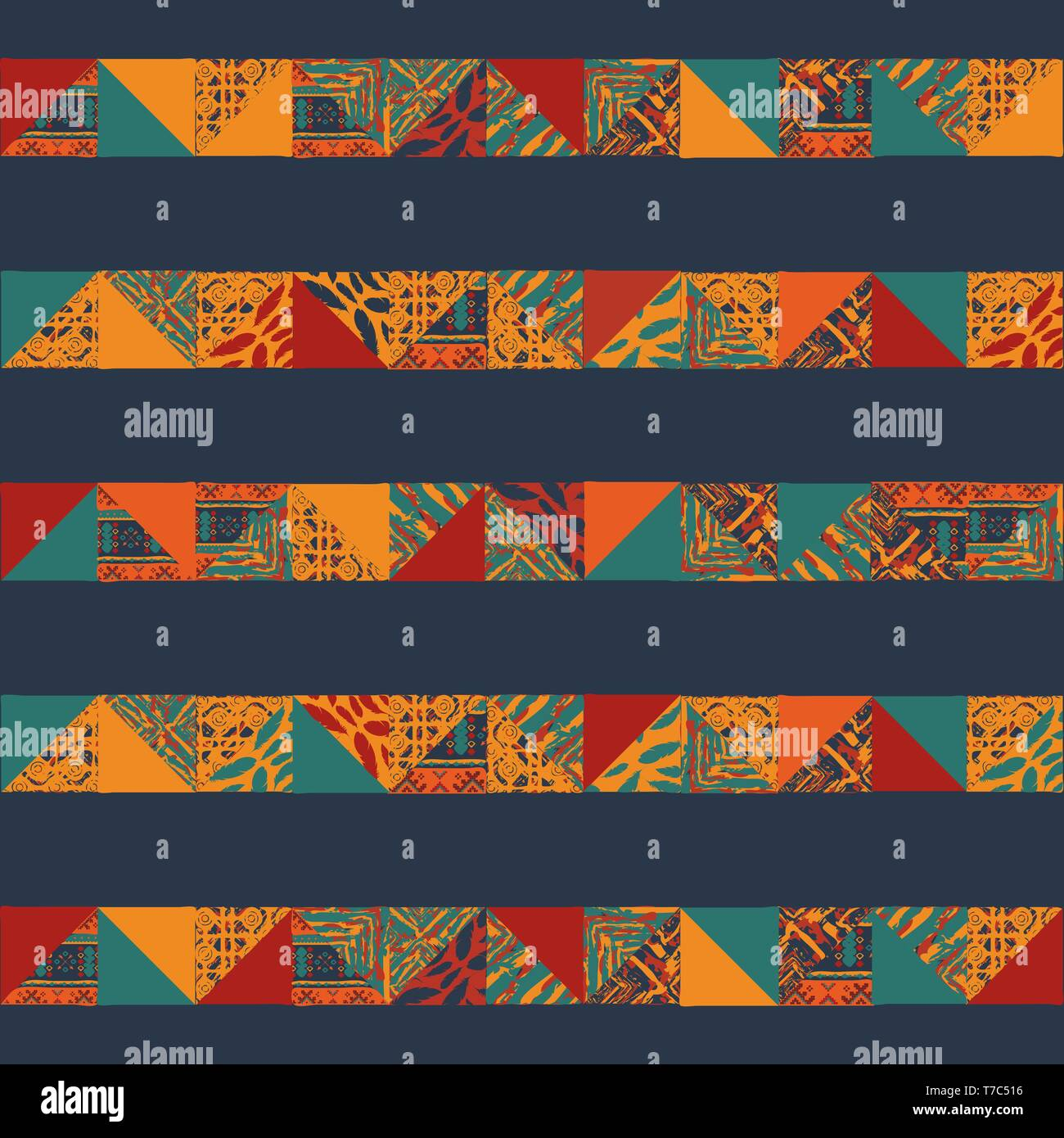 Big seamless african boho horizonttal patterns with triangle