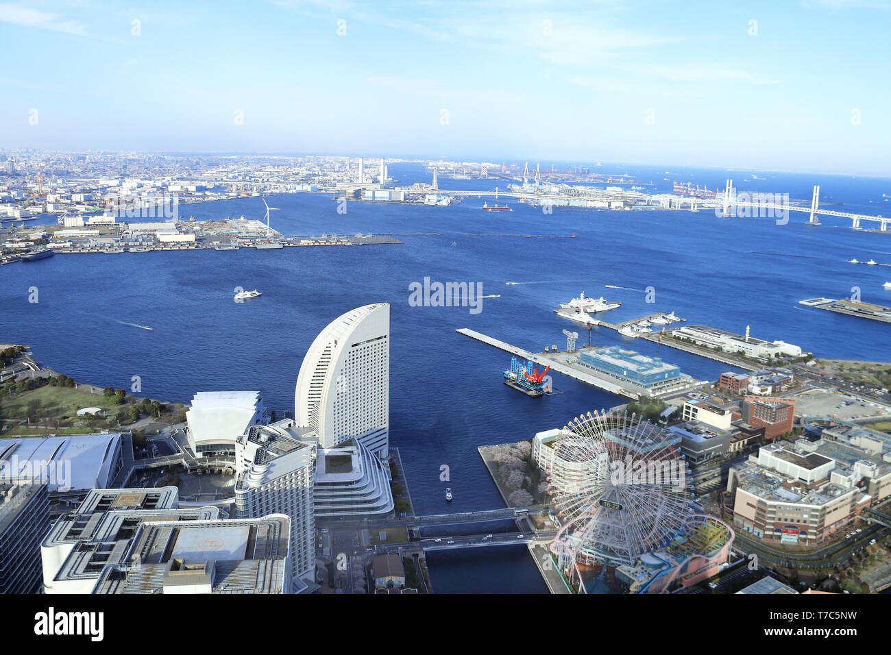 Aerial view on Yokohama and Tokyo Bay, Kanagawa prefecture, Japan - Stock Image