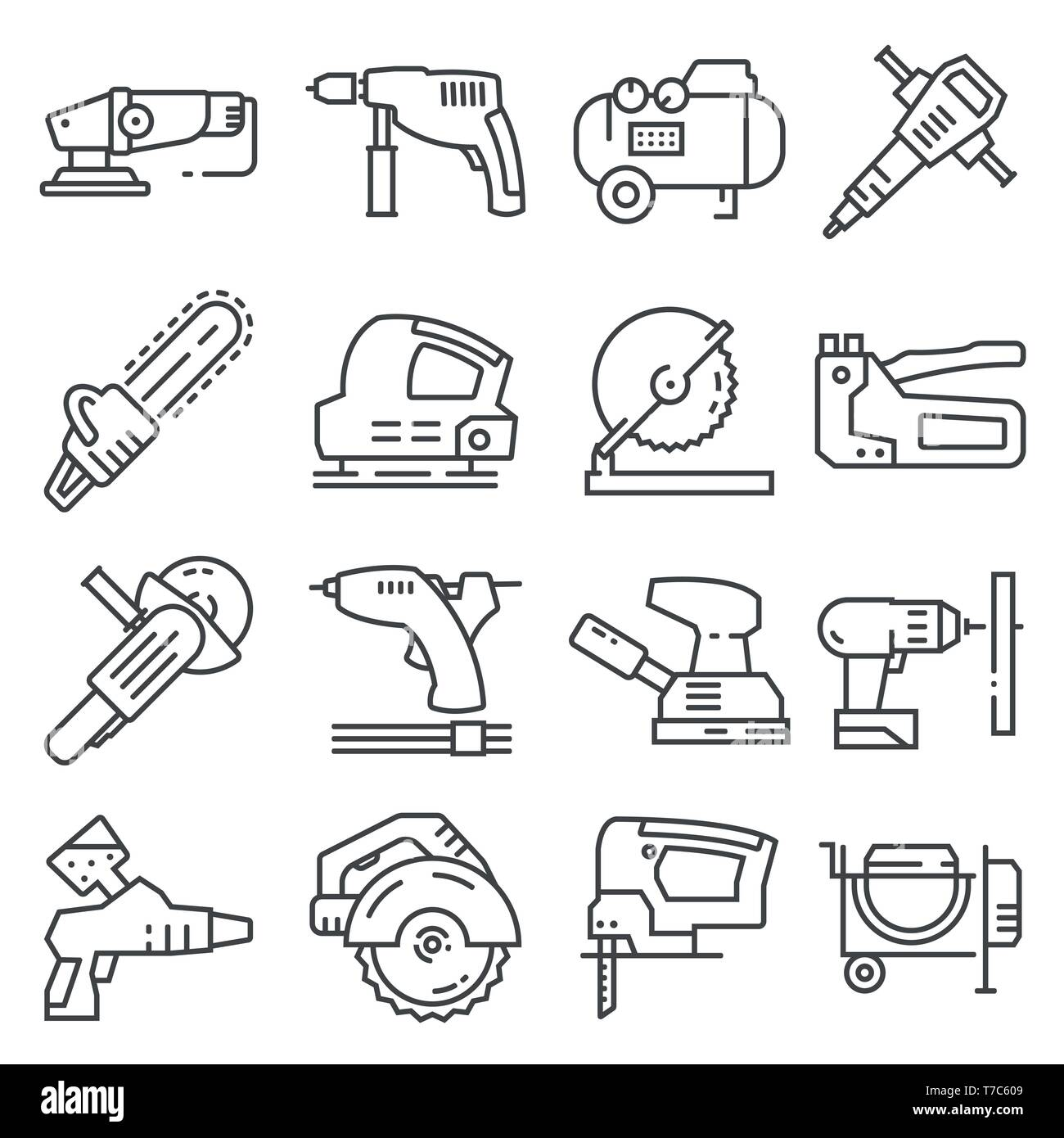 Electrical work tools vector icons for web design isolated on white background - Stock Vector