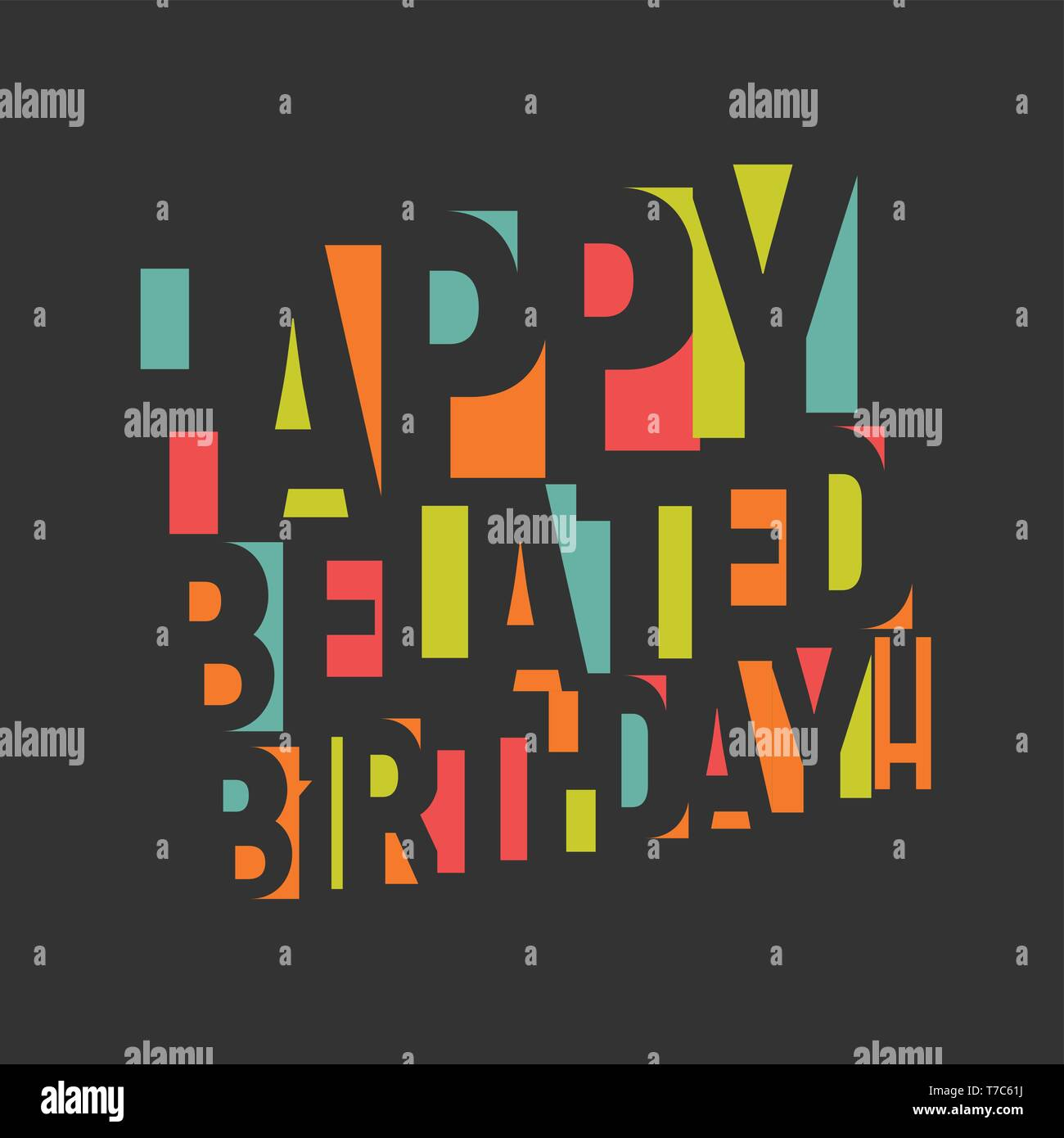 Greeting card for birthday. Colorful letters and confetti on black background. Happy birthday Congrats vector illustration. Negative space lettering - Stock Image