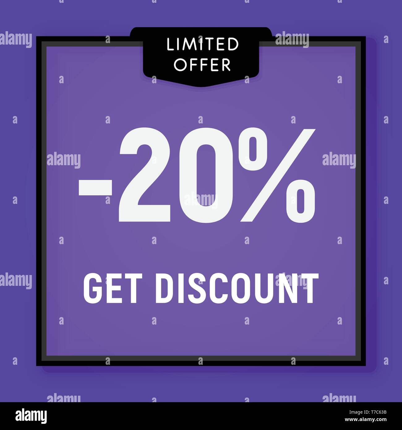 Sale 20 percent off, get discount website button. Shop window, behind glass design. vector illustration - Stock Vector