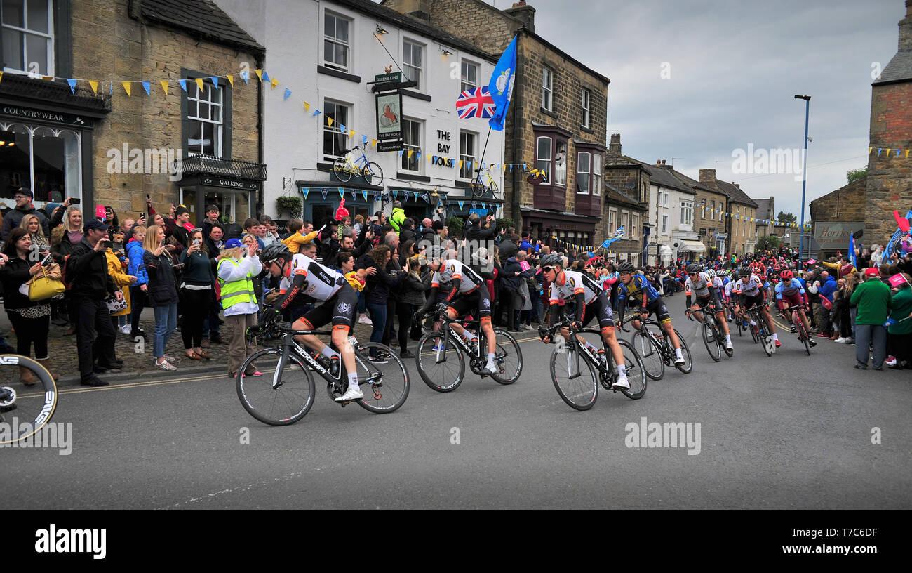 Tour de Yorkshire Mens Race Masham North Yorkshire England UK - Stock Image