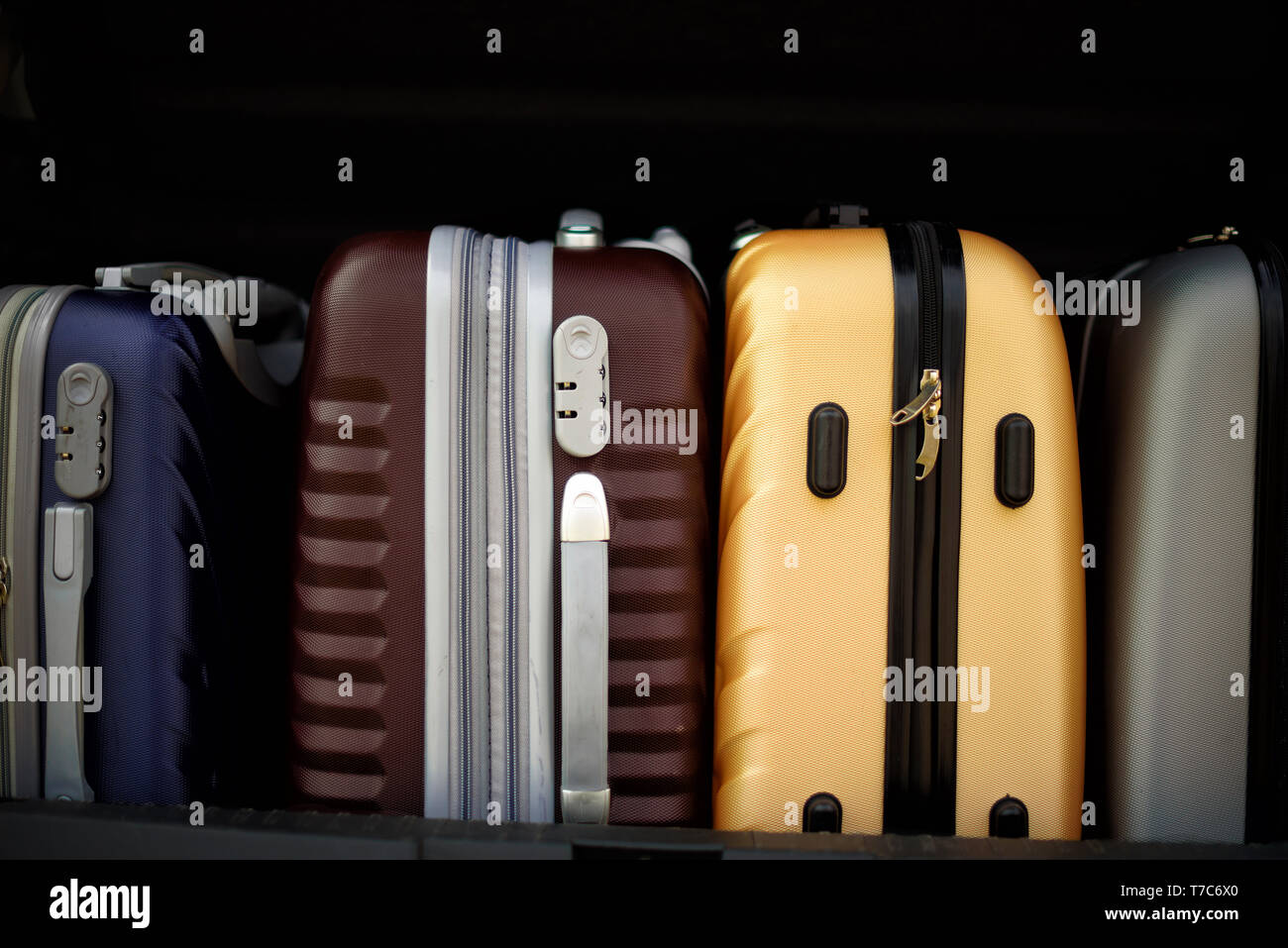 Suitcases and bags in car trunk. Summer holidays, travel, trip, adventure concept - Stock Image