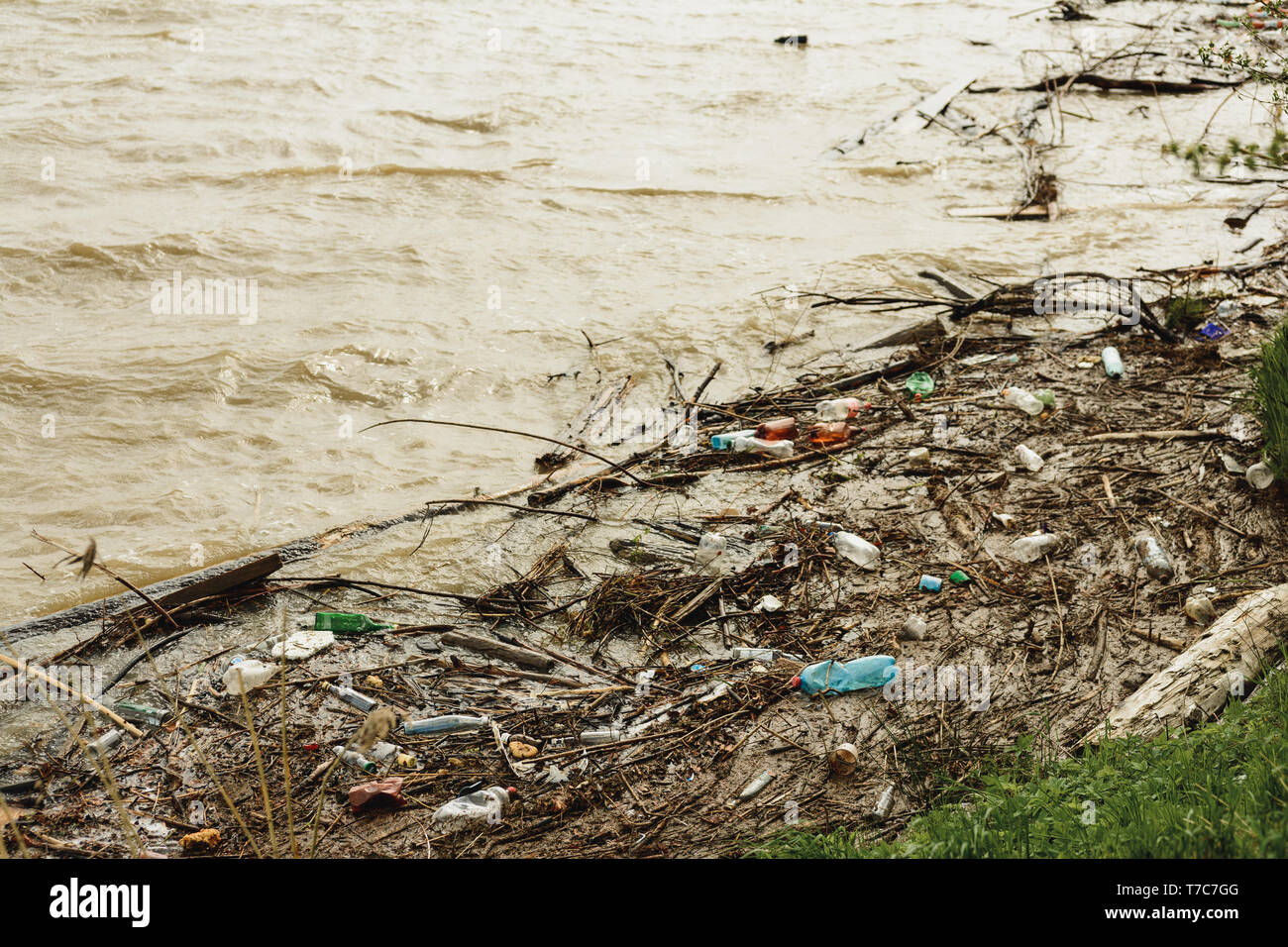 Plastic waste in the river, pollution and the environment in the water, an environmental problem. 2019 - Stock Image