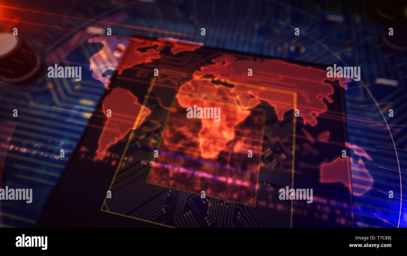 Cyber security concept with world map hologram over cpu in background. Concept of globalization, internet communication, global business and social ne - Stock Image