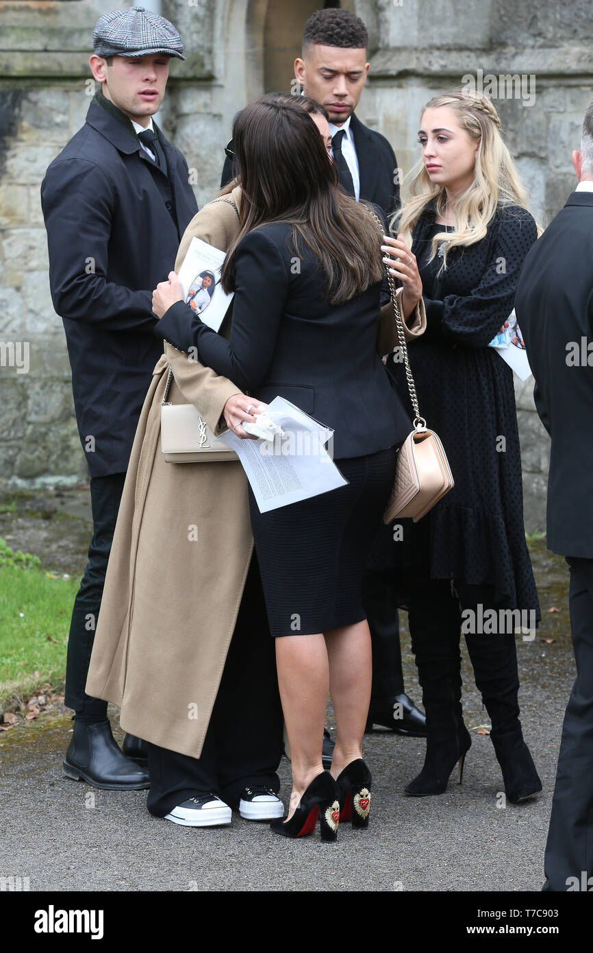 The funeral of Love Island star Mike Thalassitis at Christ Church in Southgate, north London. The former footballer and reality TV star was found hanged in a park near his home in Edmonton, north London on March 15 at the age of just 26.  Featuring: Montana Brown, Georgia Harrison, Rebekah Vardy Where: London, United Kingdom When: 05 Apr 2019 Credit: WENN - Stock Image