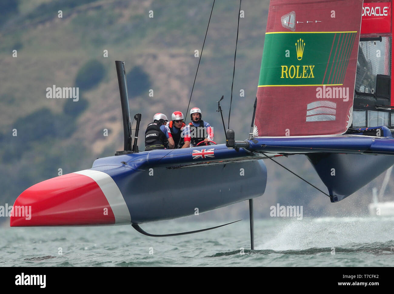 Great Britain SailGP Team skippered by Dylan Fletcher in action during Race 5. Race Day 2 Event 2 Season 1 SailGP event in San Francisco, California, United States. Picture date: Sunday May 5, 2019. See PA story SAILING San Francisco. Photo credit should read: Bob Martin Photography on behalf of SailGP/PA Wire - Stock Image