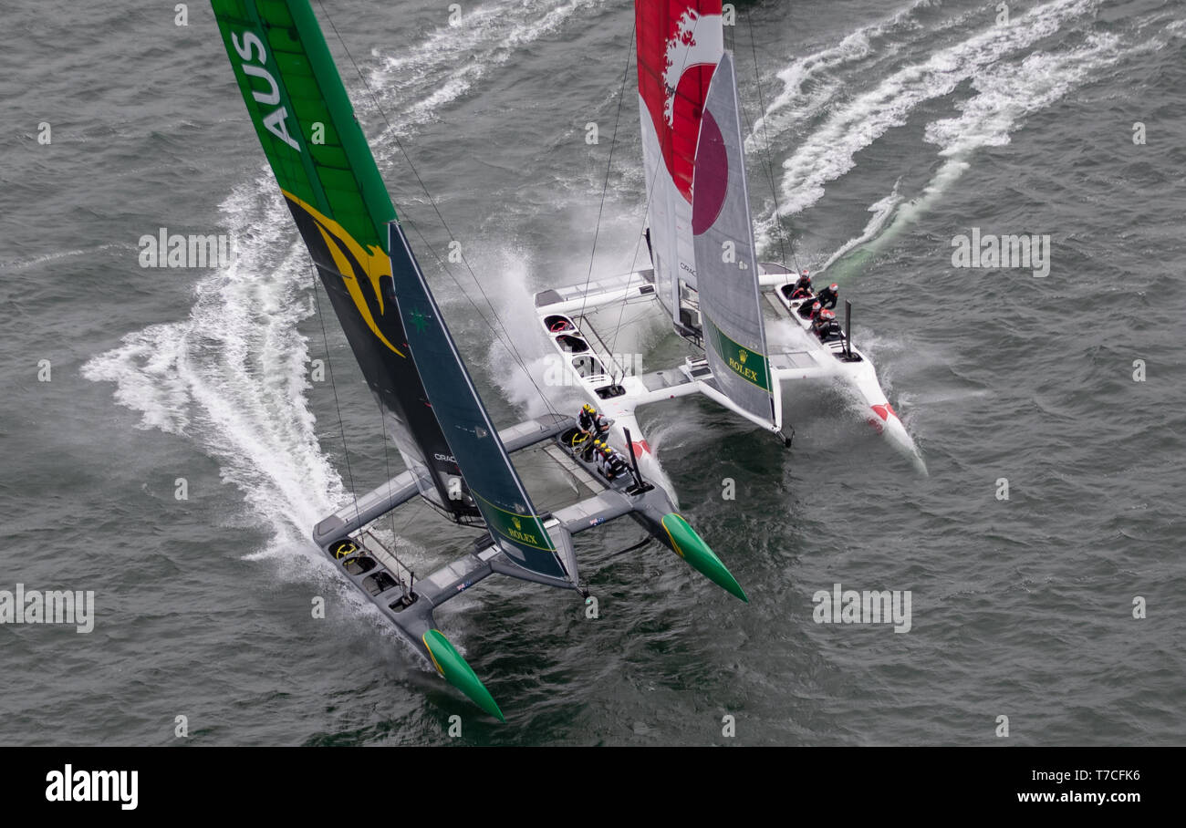 . Race Day 2 Event 2 Season 1 SailGP event in San Francisco, California, United States. Picture date: Sunday May 5, 2019. See PA story SAILING San Francisco. Photo credit should read: Bob Martin Photography on behalf of SailGP/PA Wire - Stock Image