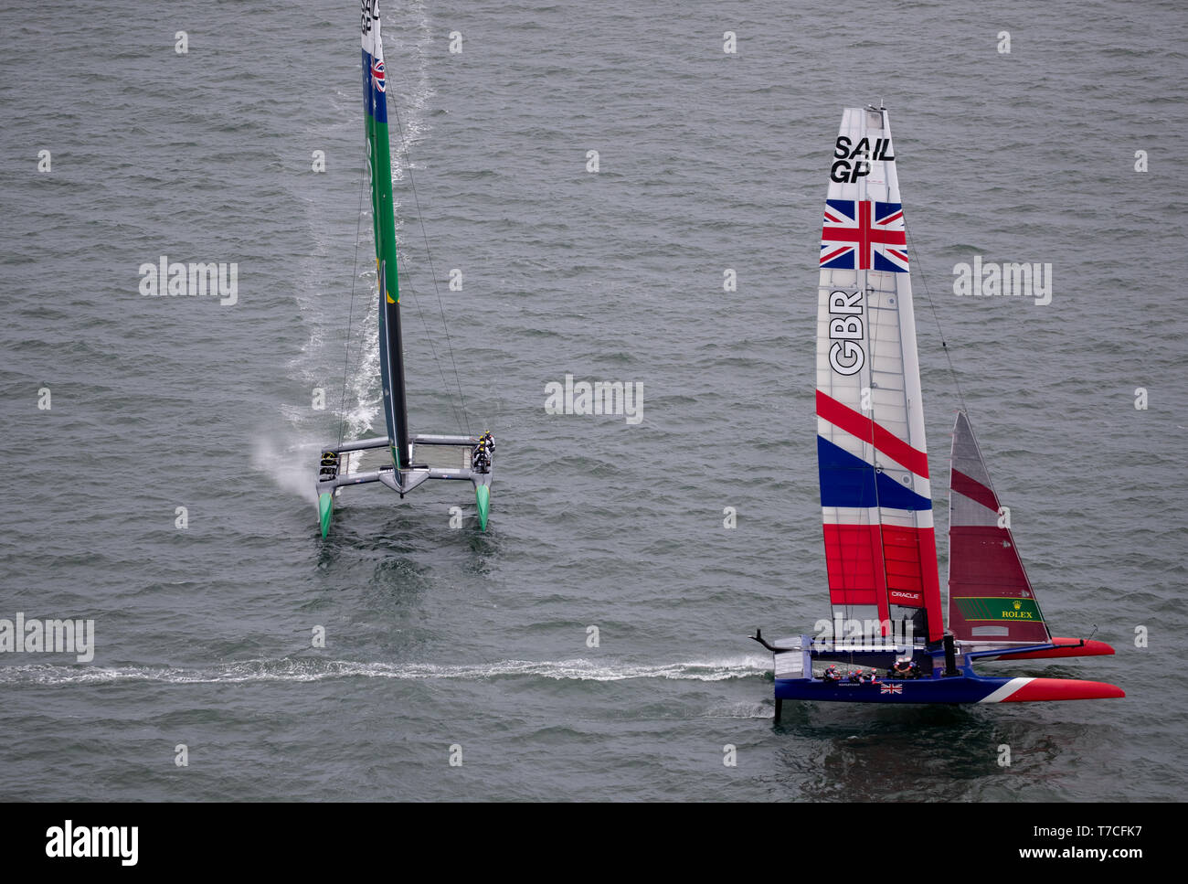 Great Britain SailGP Team skippered by Dylan Fletcher and Australia SAILGP Team skippered by Tom Slingsby in action. Race Day 2 Event 2 Season 1 SailGP event in San Francisco, California, United States. Picture date: Sunday May 5, 2019. See PA story SAILING San Francisco. Photo credit should read: Bob Martin Photography on behalf of SailGP/PA Wire - Stock Image