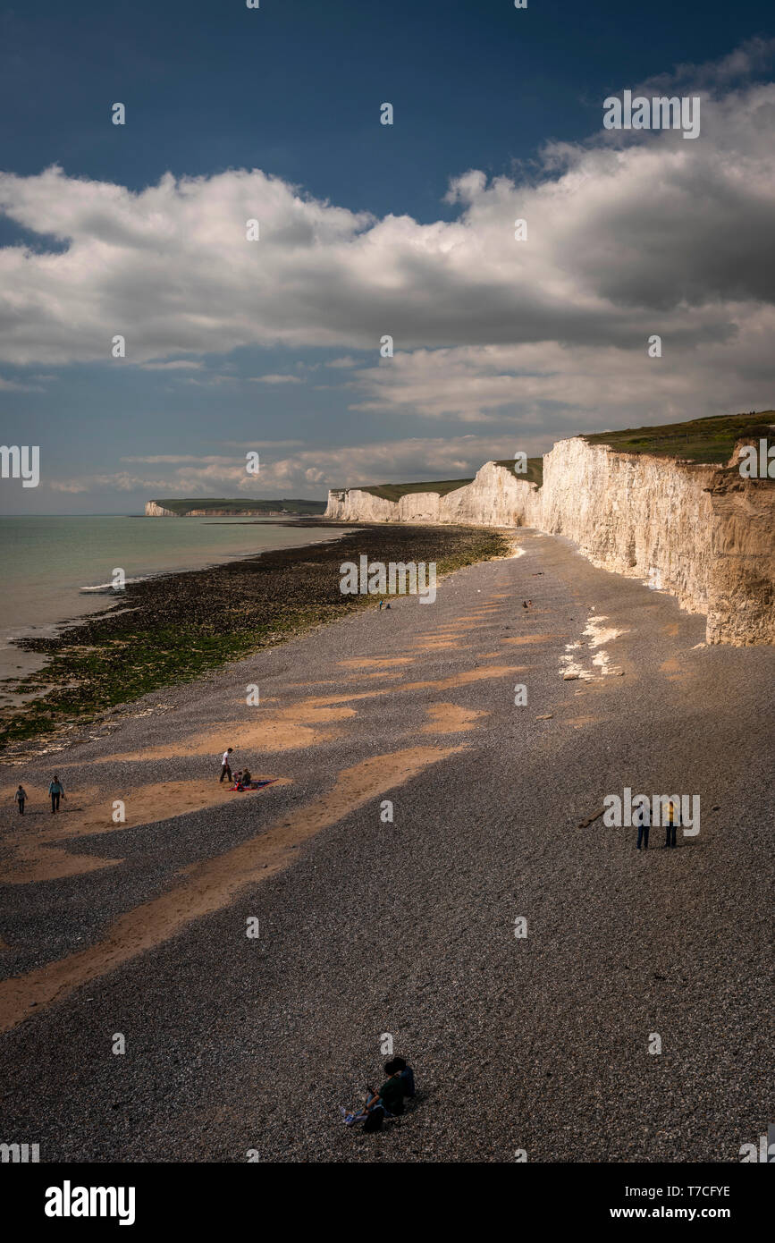 The Seven Sisters chalk cliffs in East Sussex, UK Stock Photo