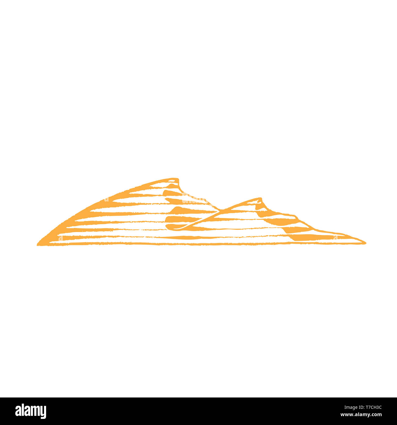 Illustration of Yellow Vectorized Ink Sketch of Sand Dunes isolated on a White Background - Stock Image