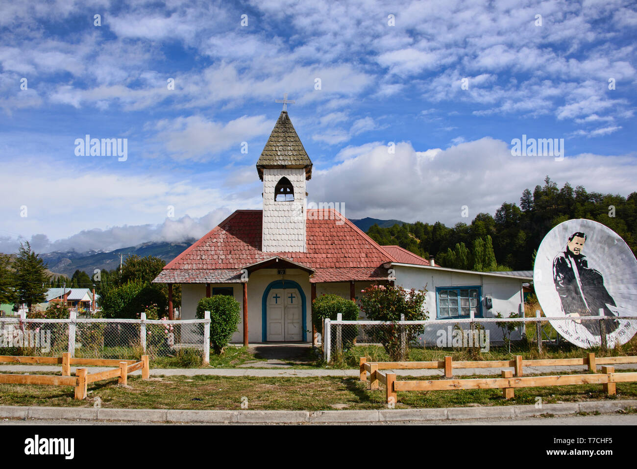 Traditional Patagonian church, Rio Tranquilo, Aysen, Patagonia, Chile - Stock Image