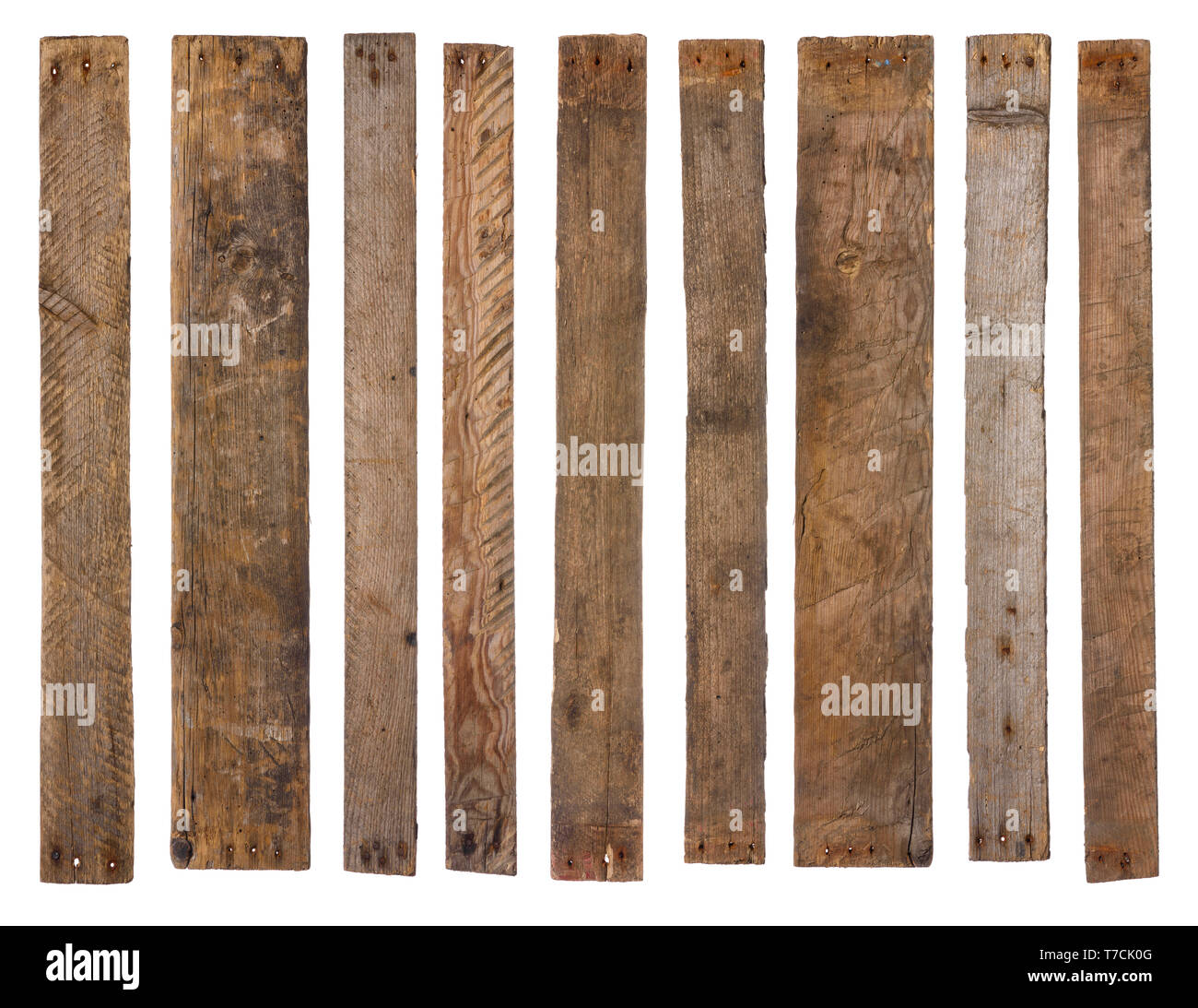 Old wooden planks isolated on white - Stock Image