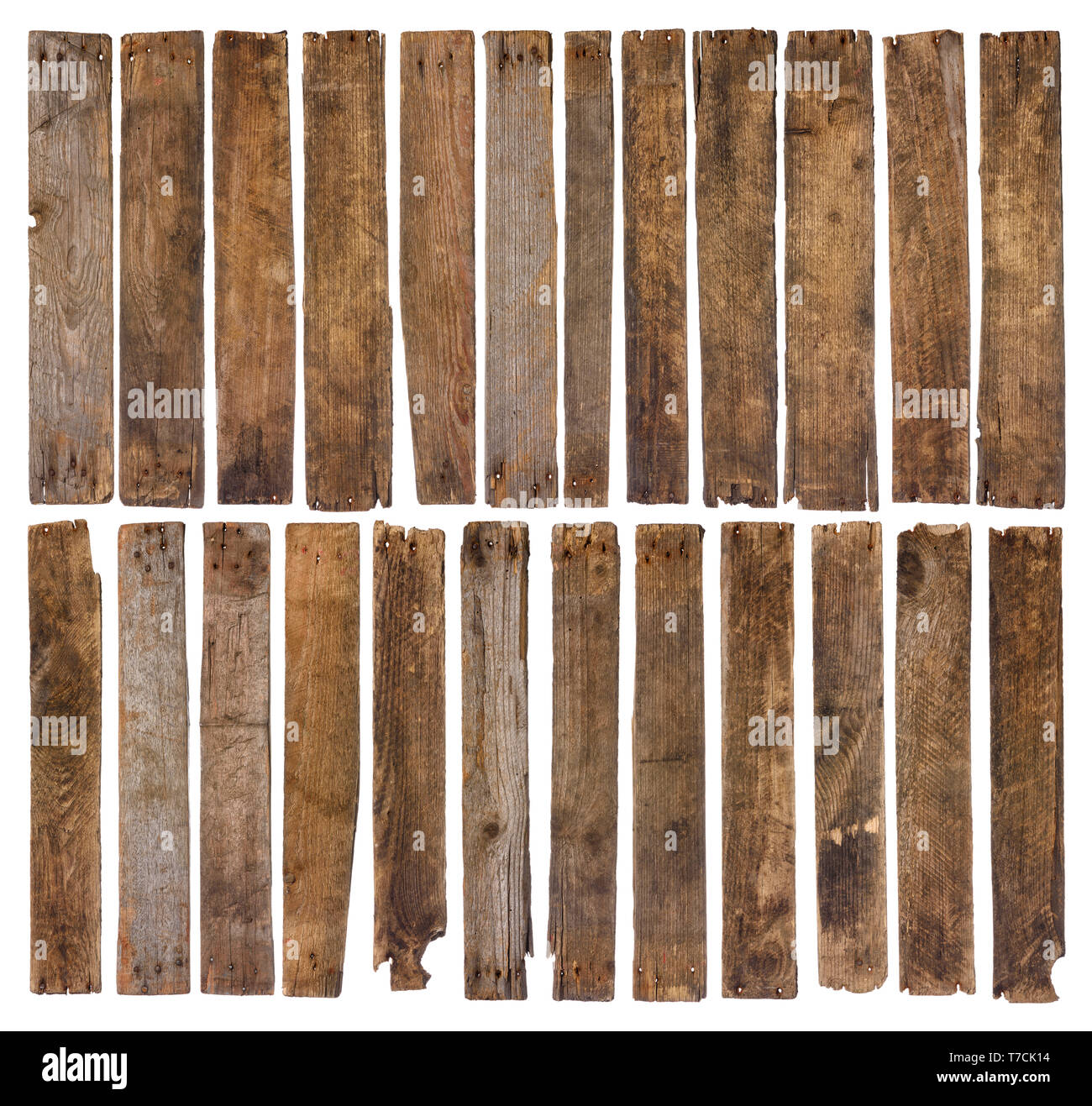 Old wooden planks isolated on white background. Set of 24 unique short rustic weathered wood plank, sharp and highly detailed for design. - Stock Image