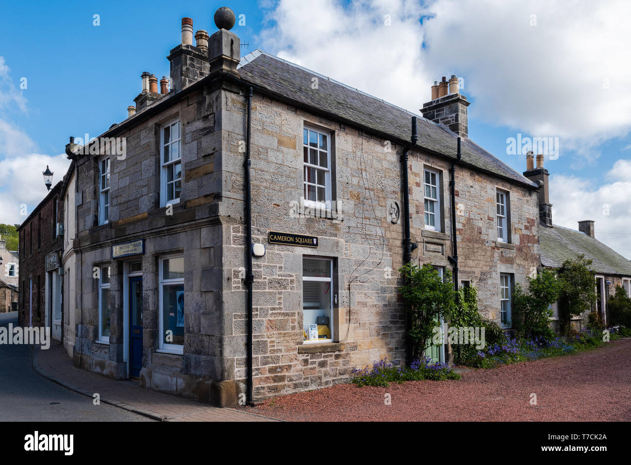 Cameron Square at West Linton in The Scottish Borders - Stock Image