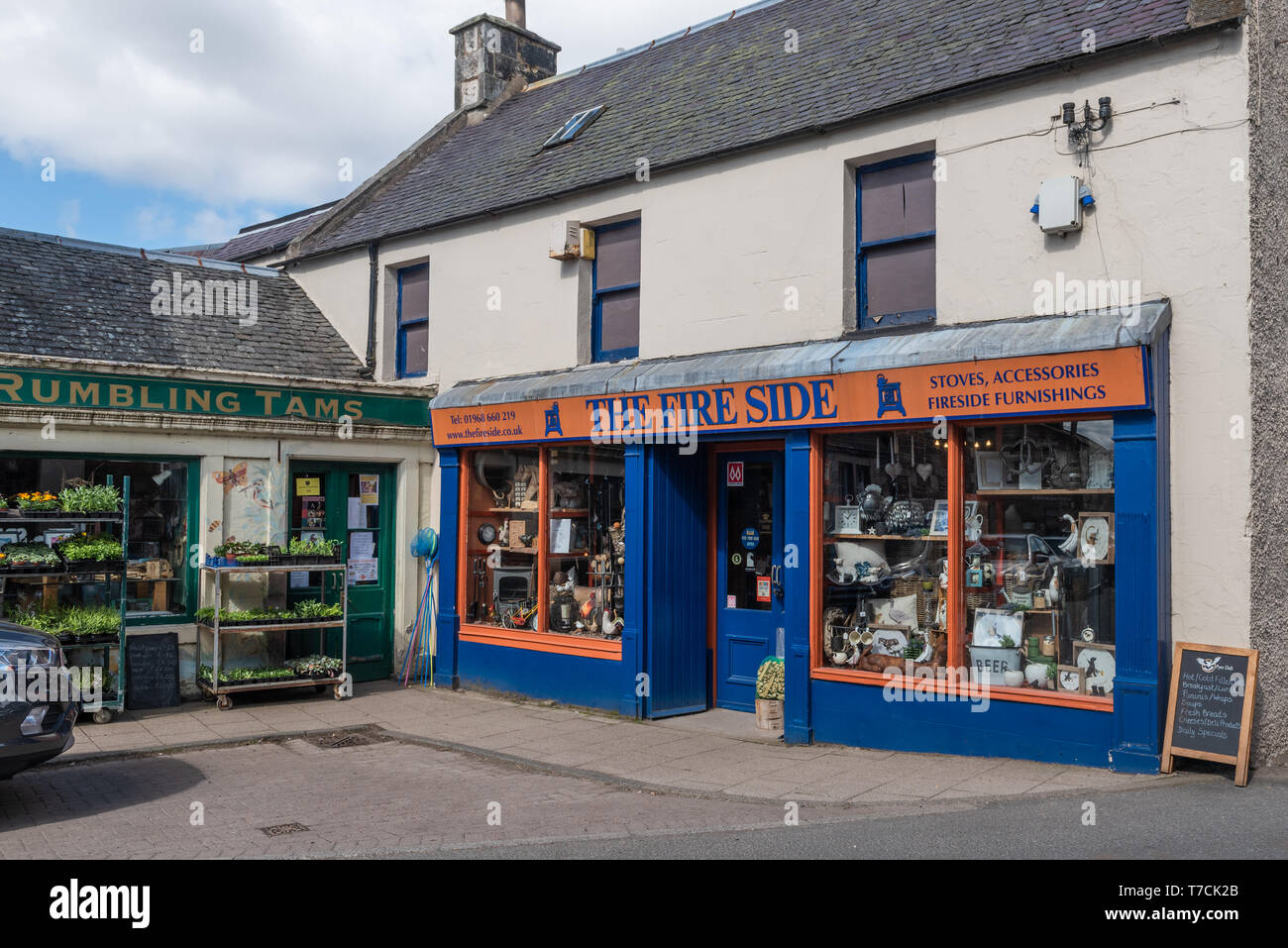 Shops in The main Street West Linton in The Scottish Borders - Stock Image