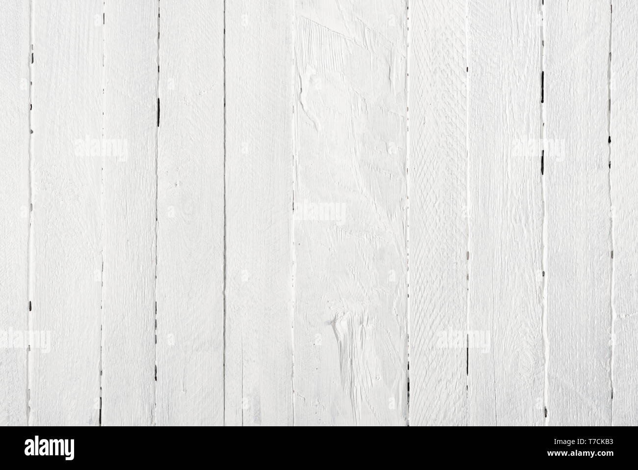 White wooden table texture background flat lay top view - Stock Image