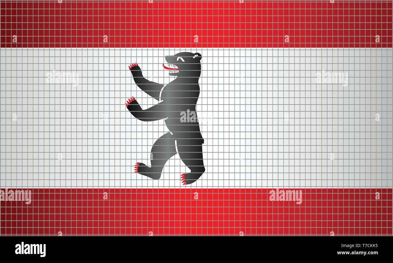 Shiny Mosaic Flag of Berlin - Illustration,  Abstract grunge mosaic vector - Stock Vector