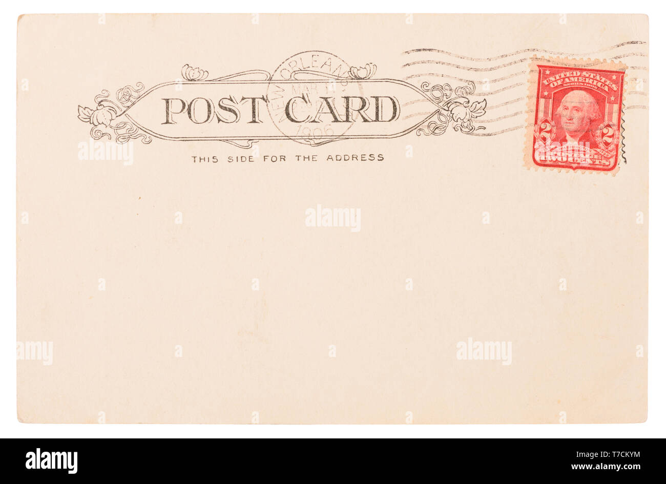 Antique post card from USA circa 1906 with New Orleans postal meter stamp and Washington postage stamp isolated on white background - Stock Image