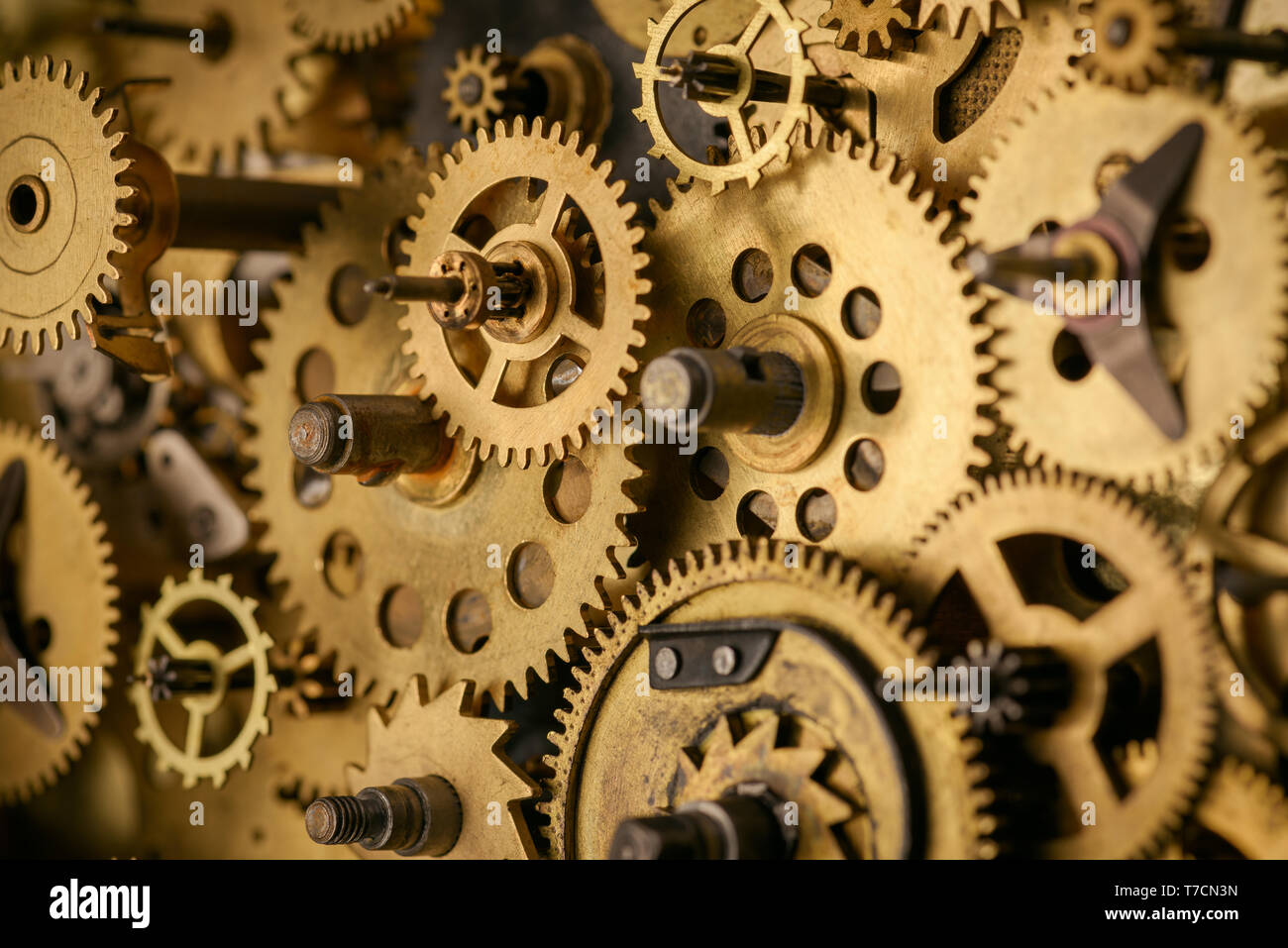 Gears and cogs macro in vintage old mechanism - Stock Image