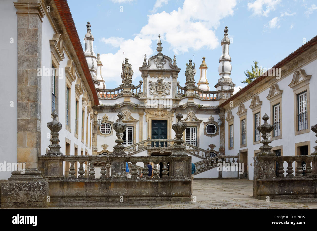 Mateus Estate and Winery; 18 century; old Baroque building; elegant mansion, double staircases, Europe; Vila Real; Portugal; spring, horizontal - Stock Image