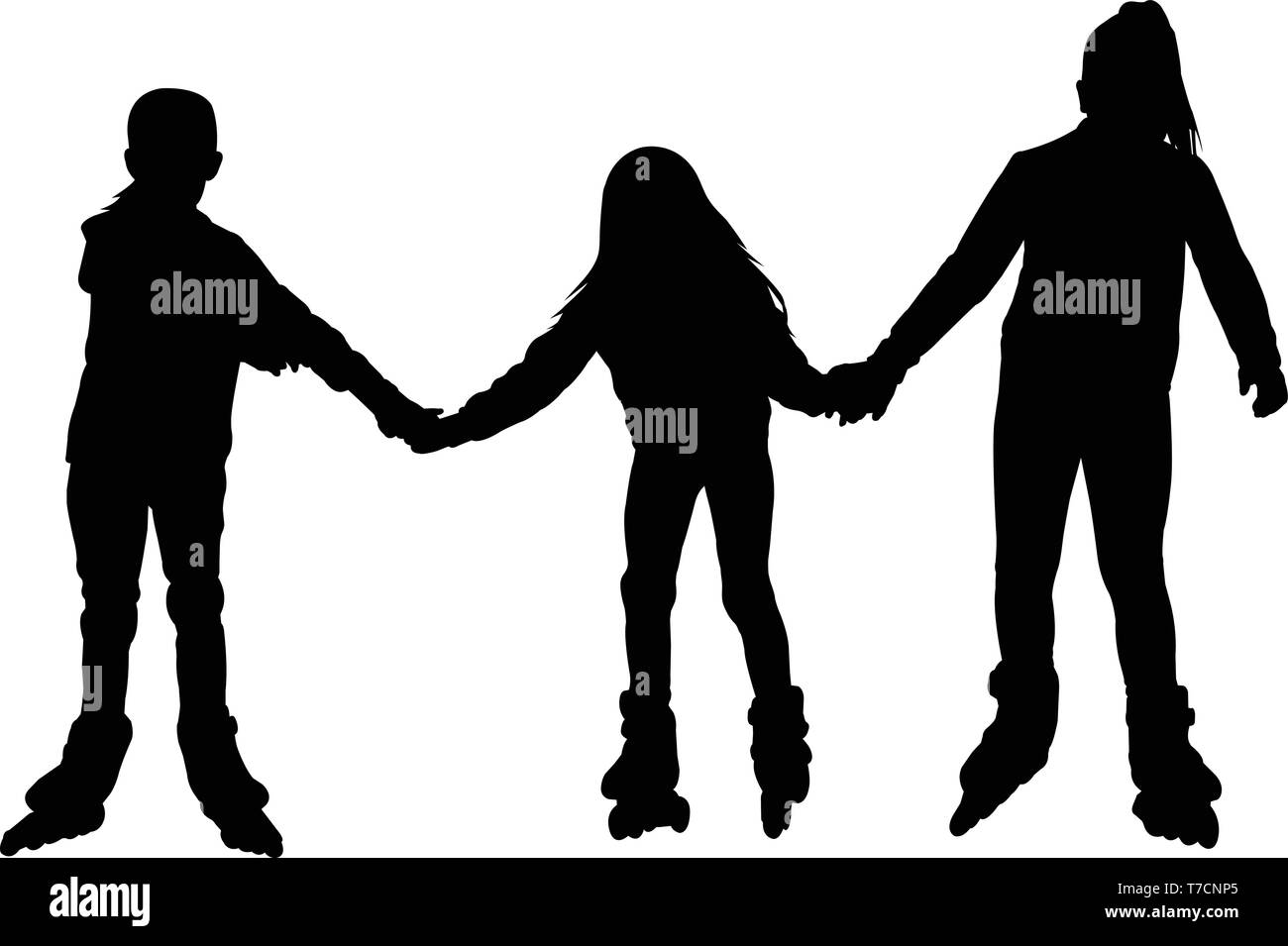 little girls rollerblading together silhouette - vector Stock Vector