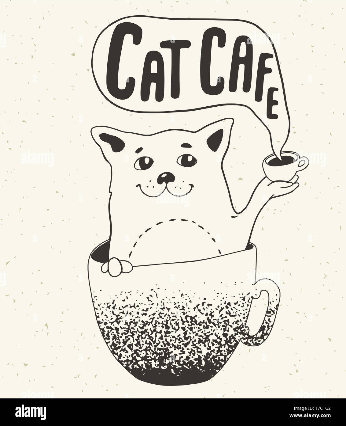 Cat In The Coffee Cup And Lettering Poster For Cat Cafe Hand Drawn Illustration Coffee House Concept Stock Photo Alamy