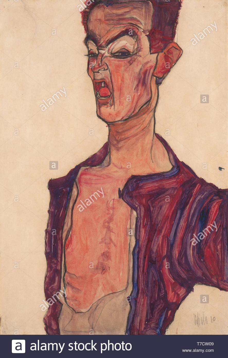 Egon-Schiele-Self-Portrait, Grimacing Stock Photo