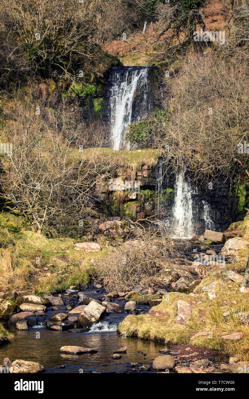 Nant Bwrefwr waterfall in Brecon Beacons, Wales in United Kingdom - Stock Image