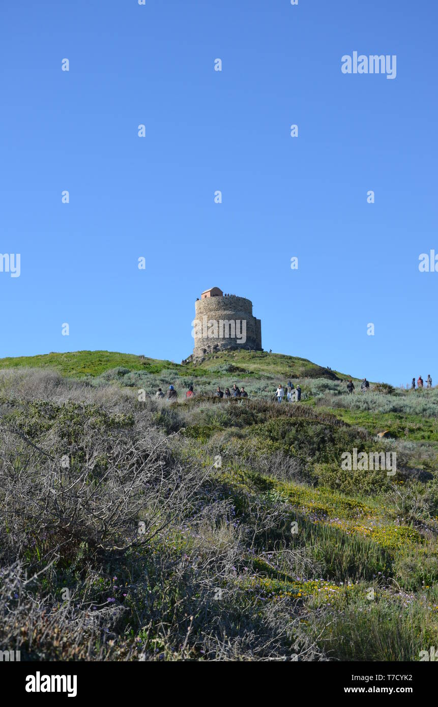 Tharros and San Giovanni tower Stock Photo
