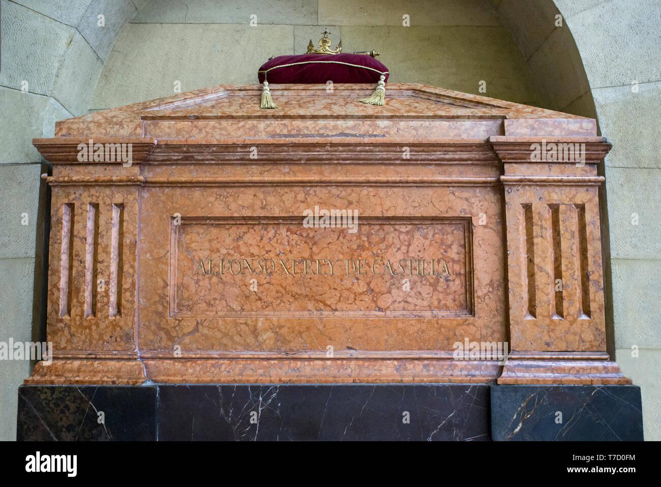Córdoba Spain -  Dec 7th, 2019: Tomb of Alfonso XI of Castile at Royal Collegiate Church of Saint Hippolytus - Stock Image