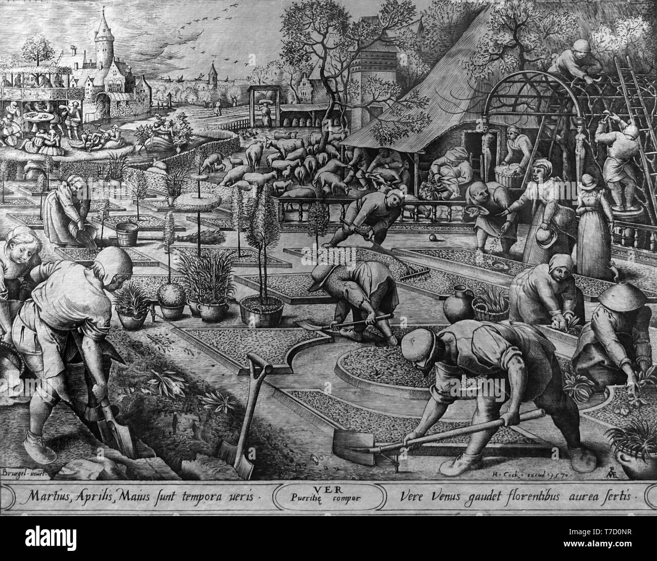 Print showing spring 1570 (after Pieter Bruegel the Elder) by Pieter van der Heyden 1530 - 1572 Flemish printmaker. - Stock Image