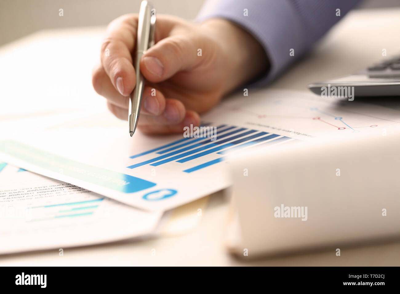 Businessman Controlling Prices Accounting Income - Stock Image