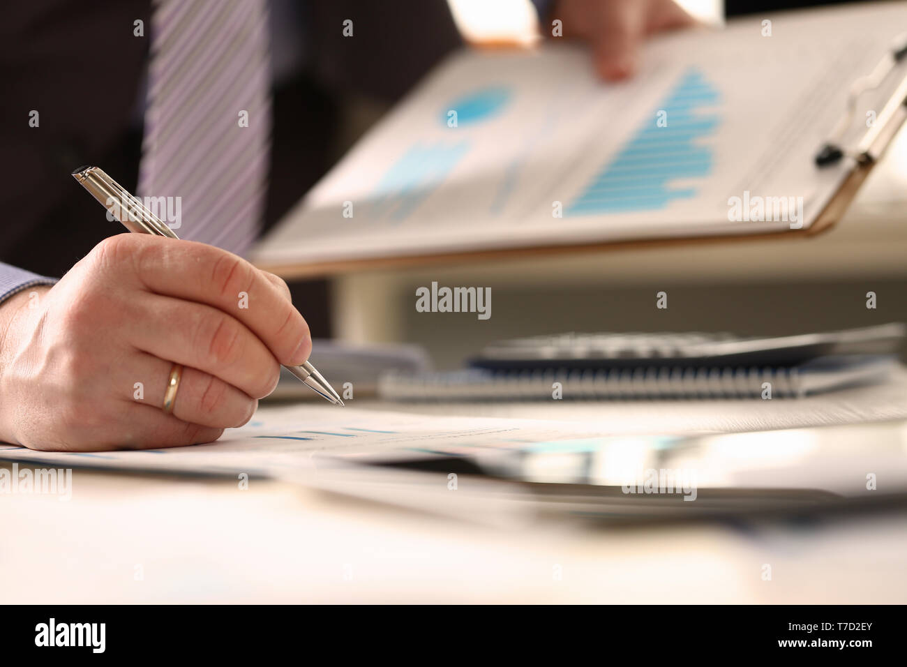 Financial Consultant do Annual Budget Calculation - Stock Image