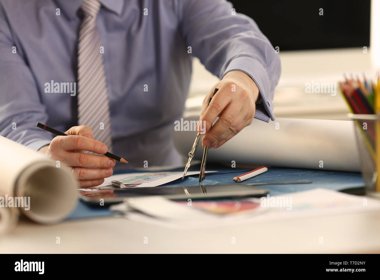 Professional Architect Drafting Building Project - Stock Image