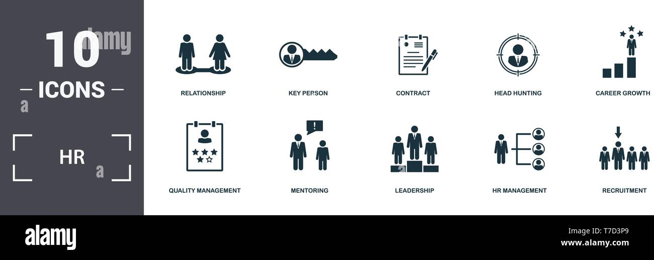 Human Resources icons set collection. Includes simple elements such as Relationship, Key Person, Contract, Head Hunting, Career Growth, Mentoring and  - Stock Vector