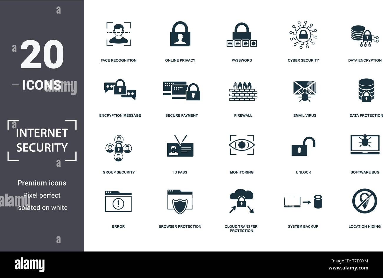 Internet Security icons set collection  Includes simple