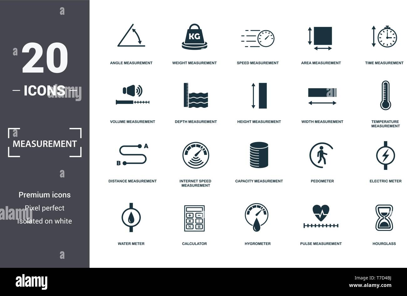 Measurement icons set collection. Includes simple elements such as Angle Measurement, Weight, Speed Measurement, Area Measurement, Time, Internet Spee - Stock Image
