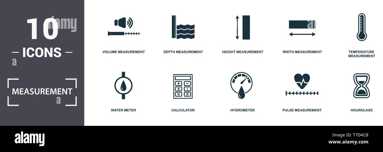 Measurement icons set collection. Includes simple elements such as Volume, Depth Measurement, Height Measurement, Width, Temperature Measurement, Calc - Stock Image