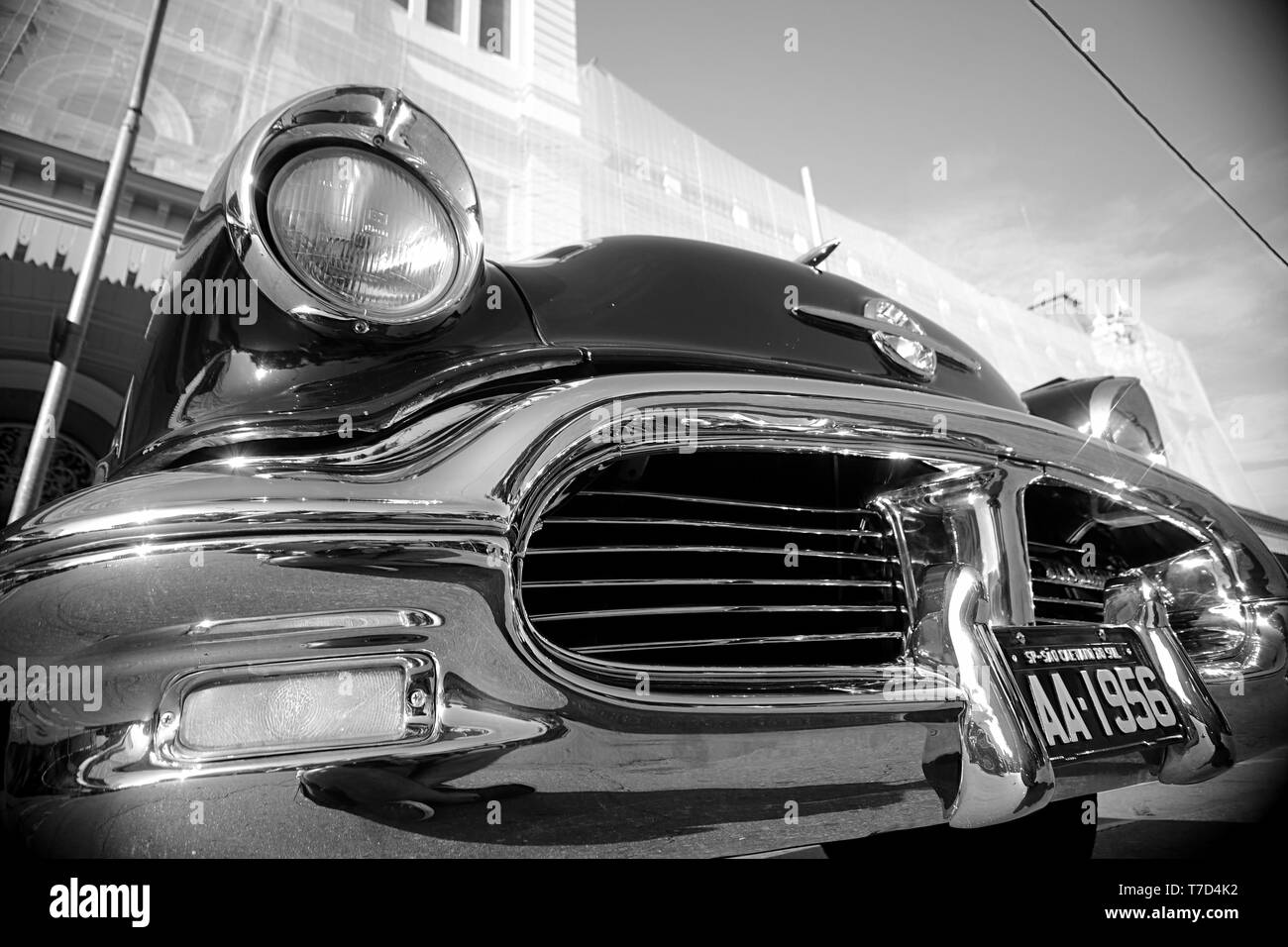 detail of classic car in monthly exposition in Sao Paulo - Stock Image