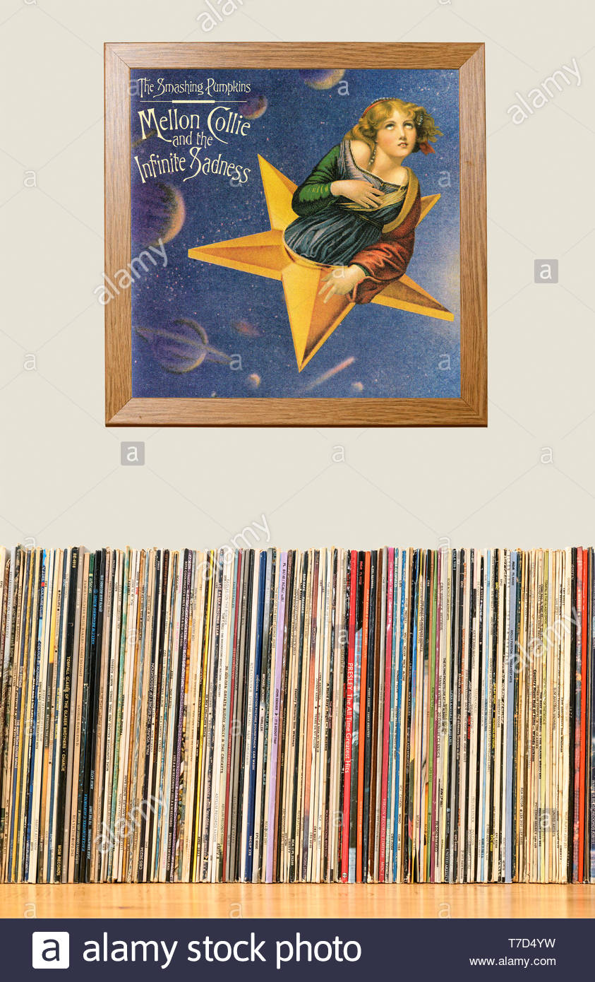 The Smashing Pumpkins, Mellon Collie and the Infinite Sadness LP Collection and framed album cover England - Stock Image