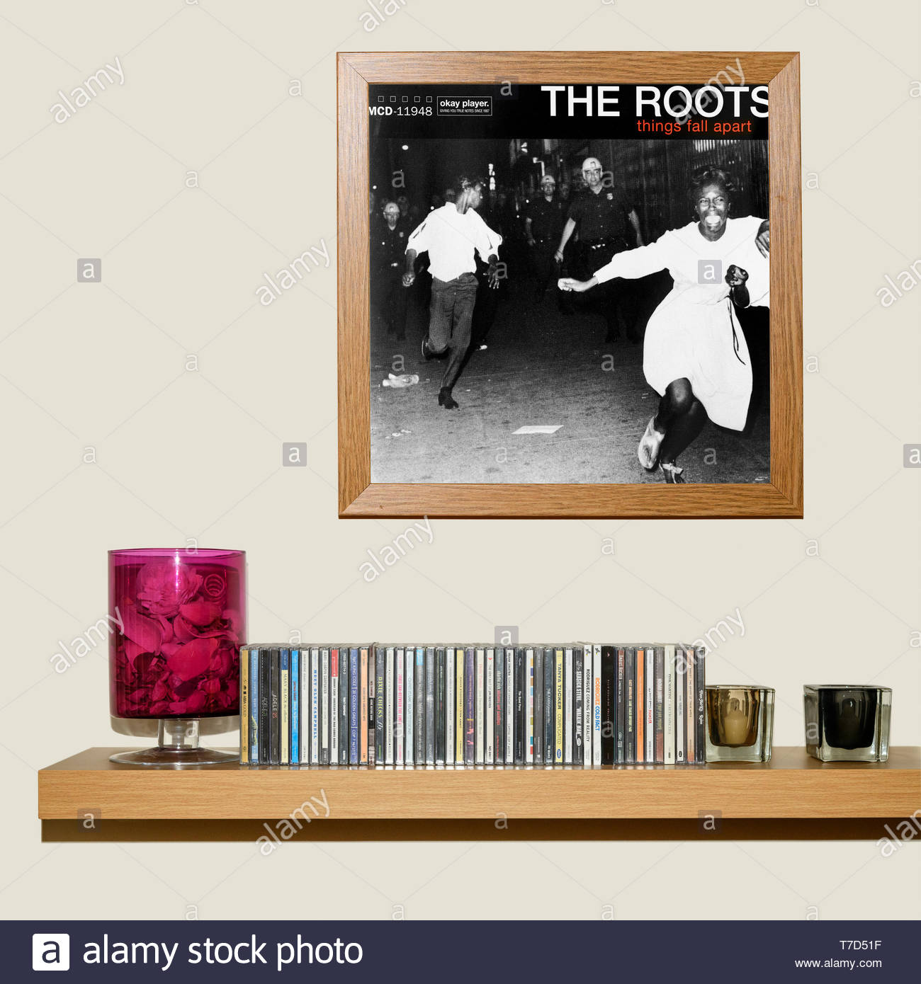 The Roots, Things Fall Apart album, CD Collection and framed Album cover, England Stock Photo