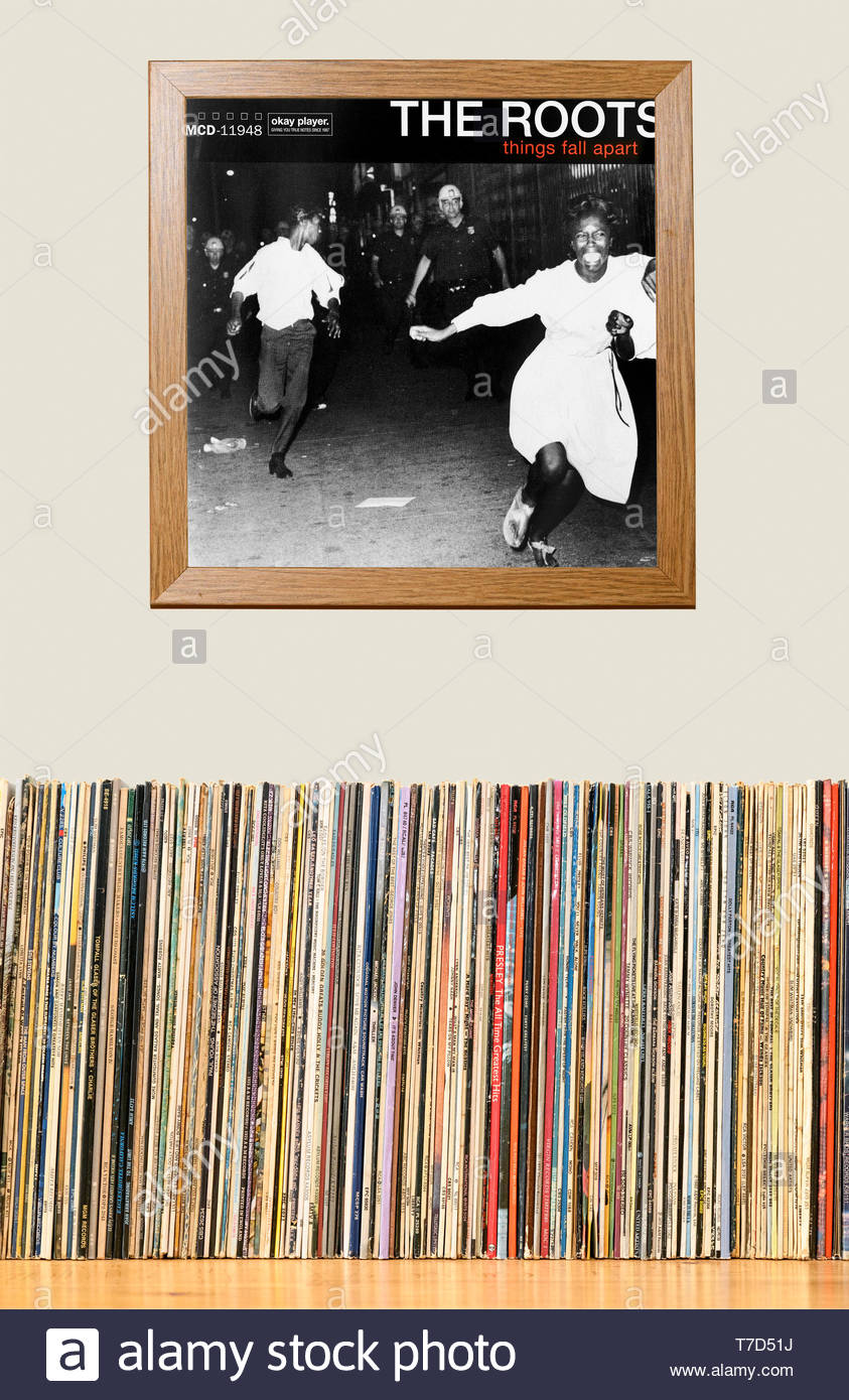 The Roots, Things Fall Apart album, LP Collection and framed album cover England Stock Photo