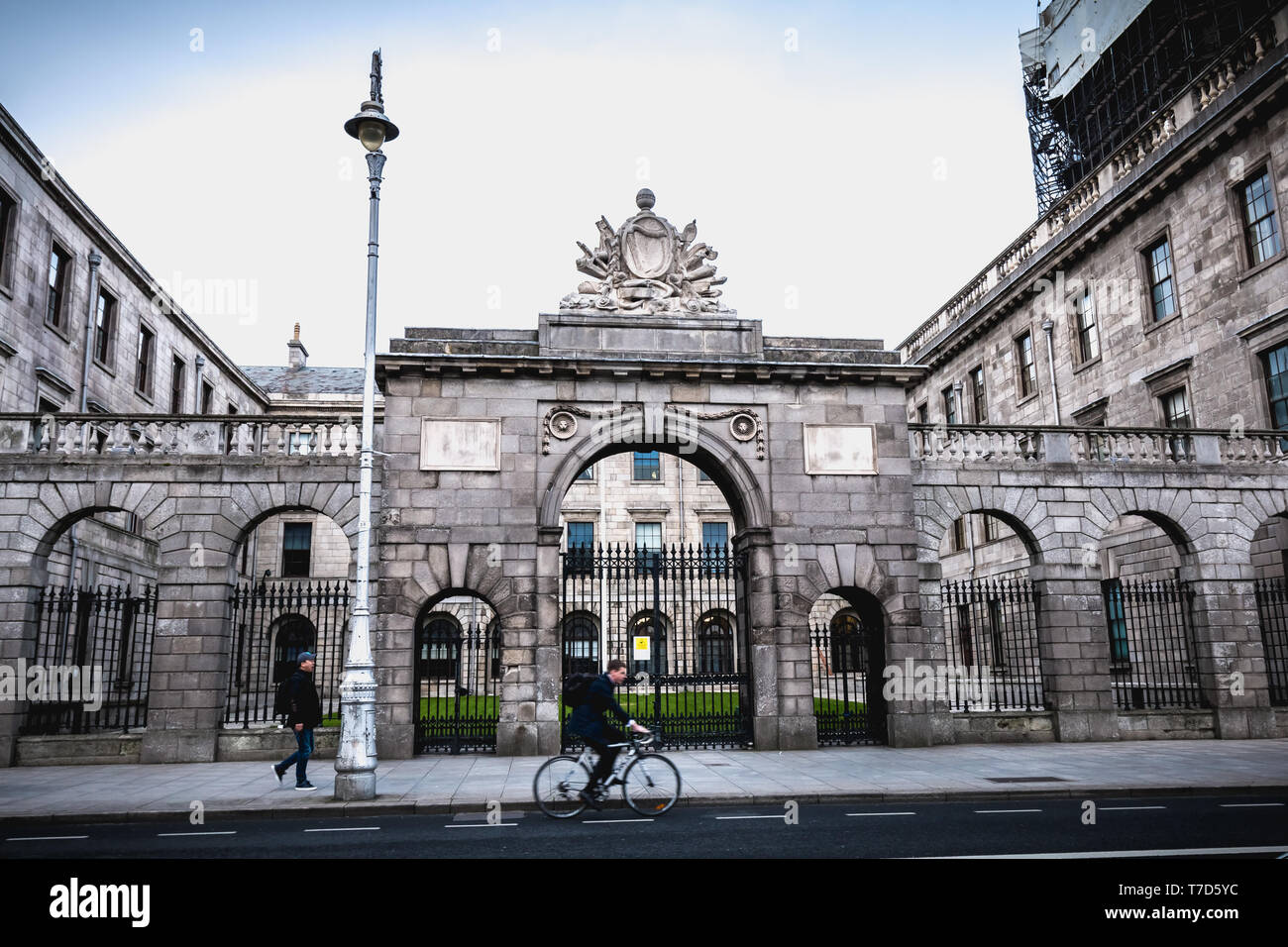 Dublin, Ireland - February 11, 2019: Architectural detail of the Dublin Four Court Courthouse on a winter day - Stock Image