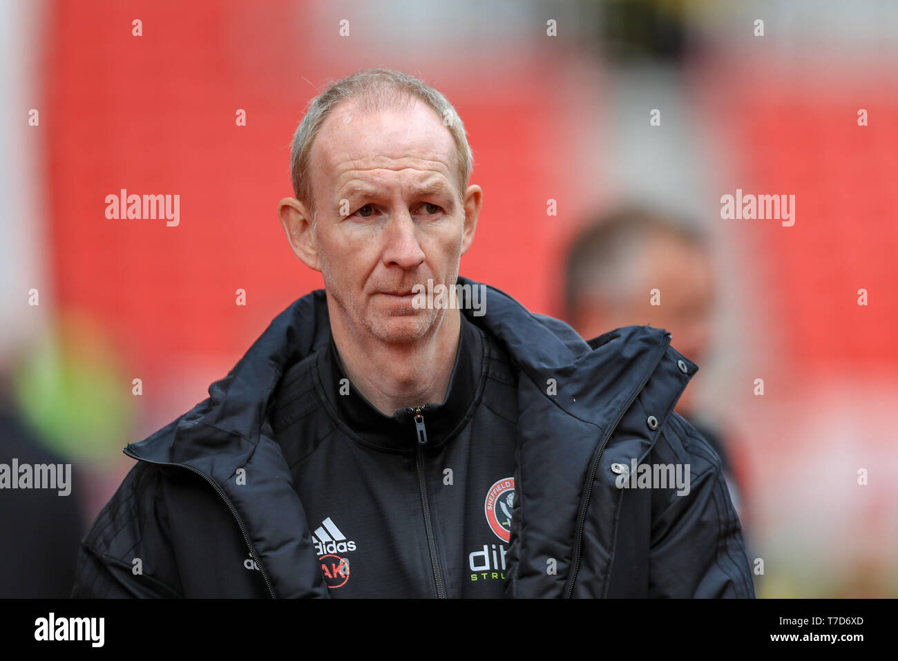 5th May 2019, Bet 365 Stadium, Stoke-on-Trent, England; Sky Bet Championship, Stoke City vs Sheffield United ; Alan Knill of Sheffield United    Credit: Mark Cosgrove/News Images  English Football League images are subject to DataCo Licence - Stock Image