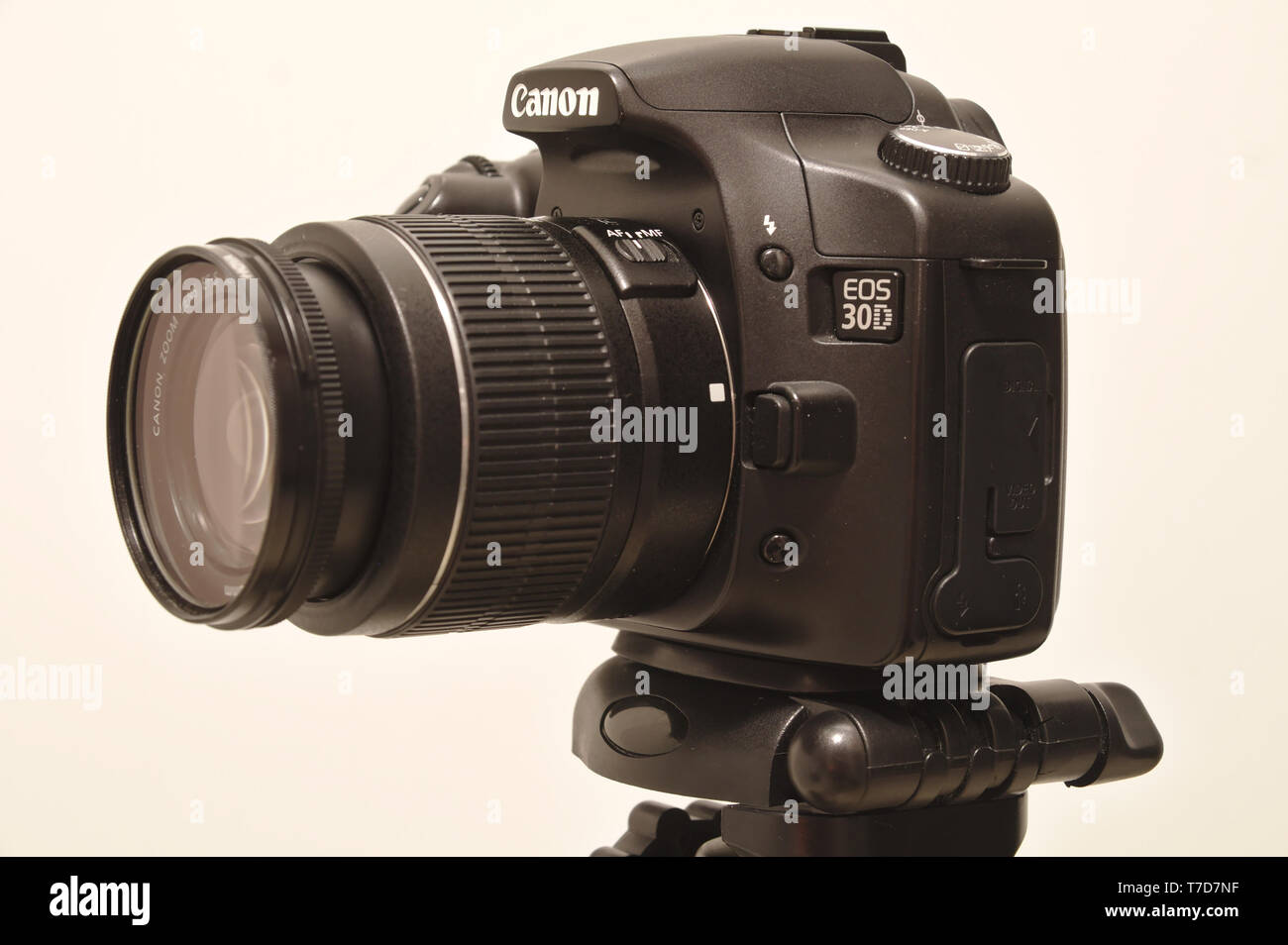 Canon 30D digital camera with Canon EF-S18-55mm lens and UV filter attached. Photo taken 05/2018 in Espoo, Finland - Stock Image