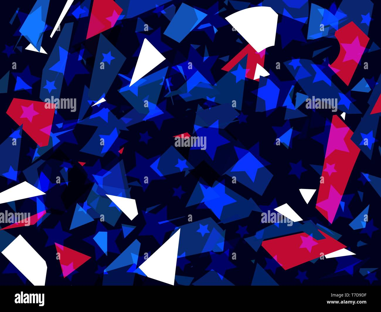 Glass explosion. Broken particles. Scatters of particles red and blue color. Geometric shapes. Vector illustration - Stock Vector