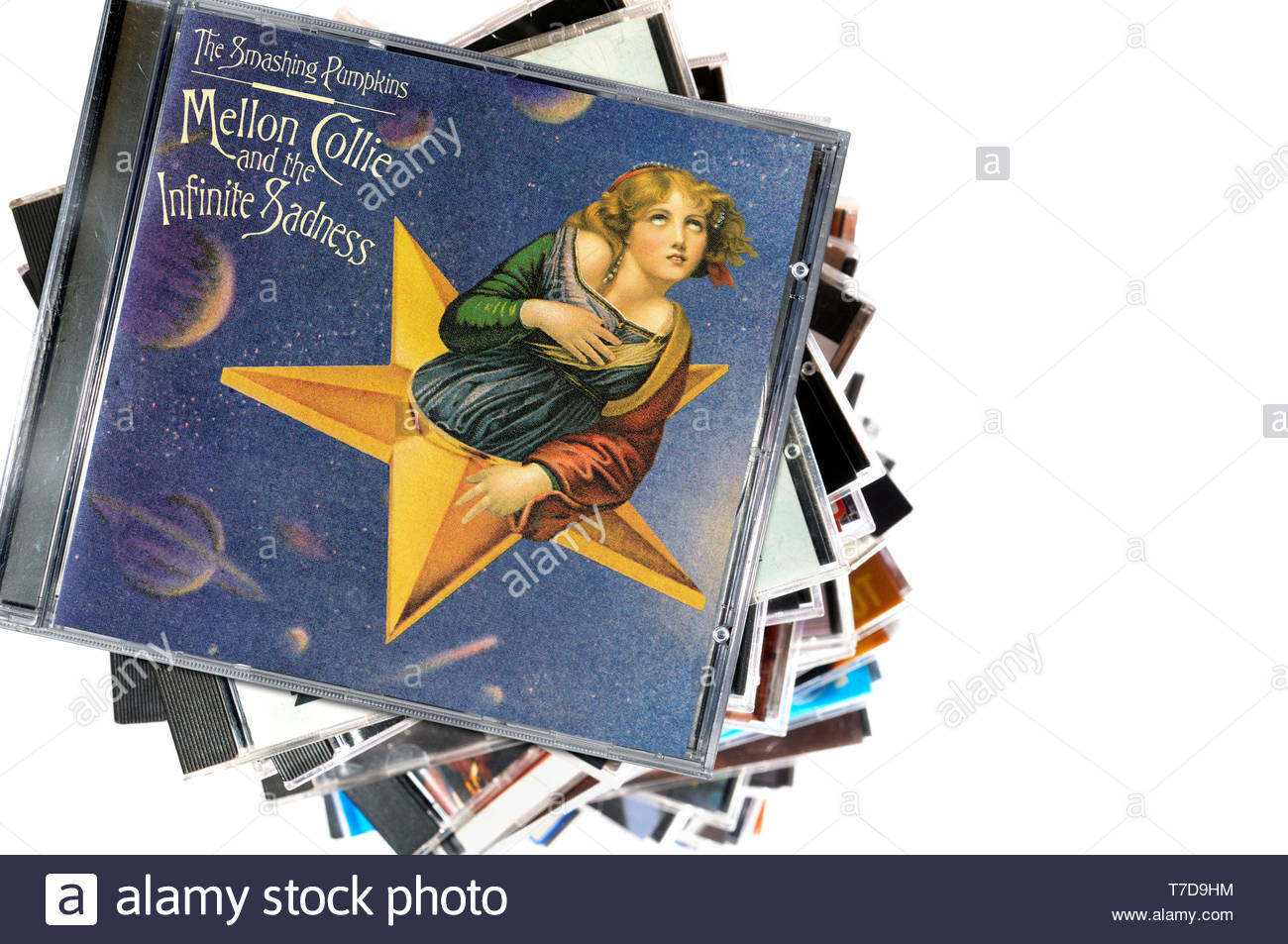 The Smashing Pumpkins, Mellon Collie and the Infinite Sadness album, CD music collection cases, England - Stock Image