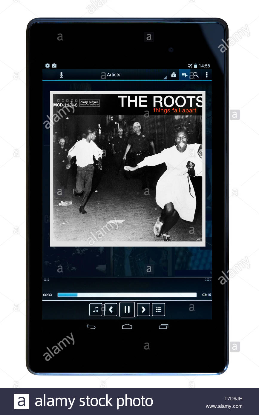 The Roots, Things Fall Apart MP3 album art on PC tablet, England - Stock Image