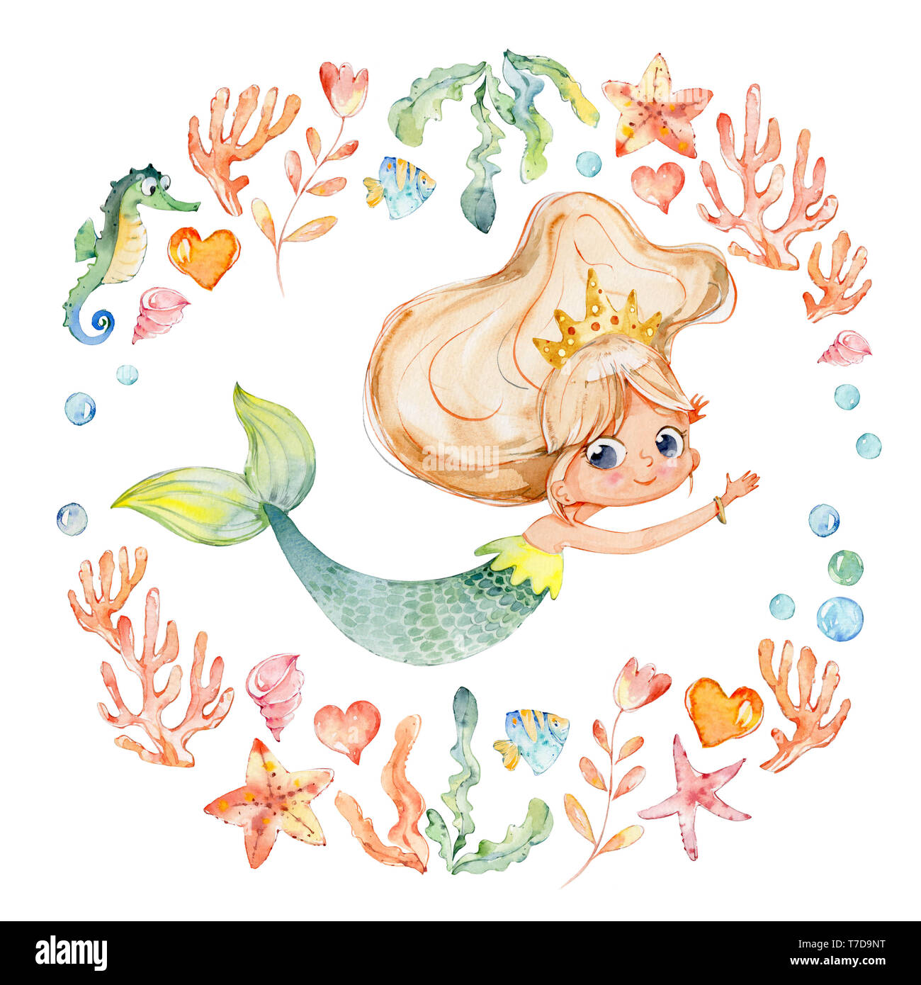 Mermaid Watercolor Surrounded By Frame Of Sea Elements Sea Horse Corals Bubbles Seashells Anchor Seaweeds Ocean Kit Young Underwater Woman Nym Stock Photo Alamy
